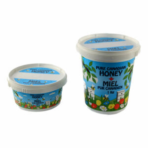 Plastic Graphically Designed Honey Tubs with Lids