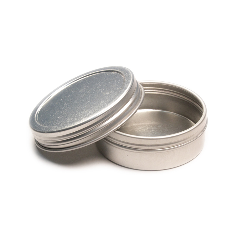 1oz Flat Screw Top Seamless Tin, Round tin, Candle Tins, Tea Tins, Confectionary Packaging, Souvenir Tins, Candy Tins, Cosmetics Packaging, Jewelry Box, Laboratory Testing Tins, Mint Tins, Ointment Tins, Soldering Paste Container, Specimen Container, Spice Packaging
