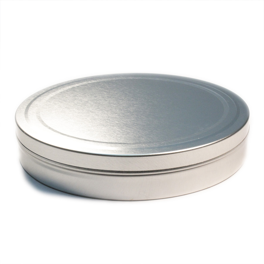 10oz Flat Slip Cover Seamless Tin with cover on