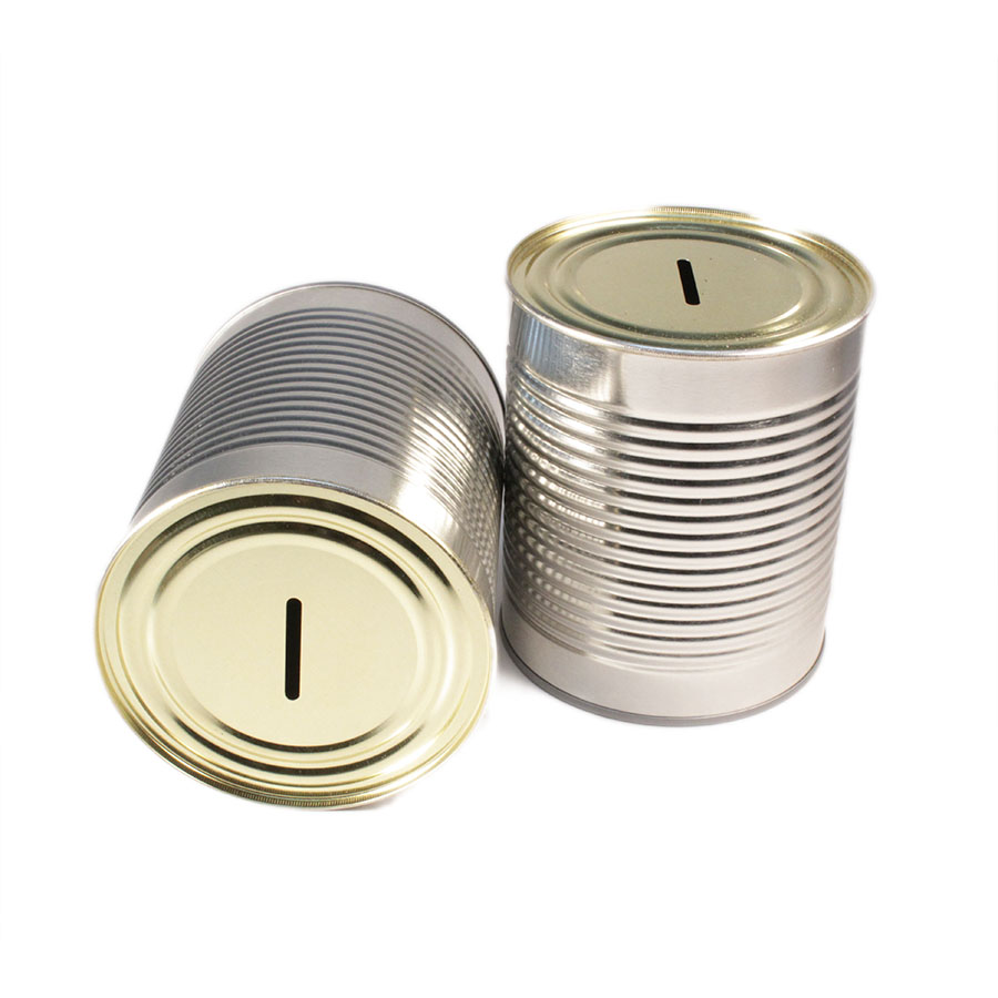Large fully sealled steel 28oz donation coin bank tin