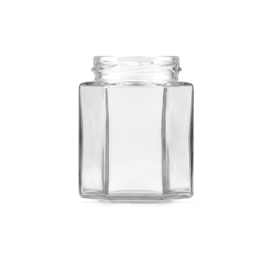 256ml Clear Hex Glass Jar 63TW
