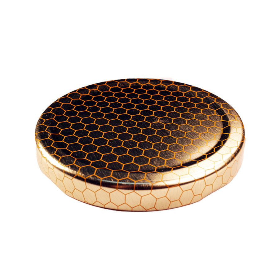 Gold with Honeycomb Glass Jar Closure Lid 70TW