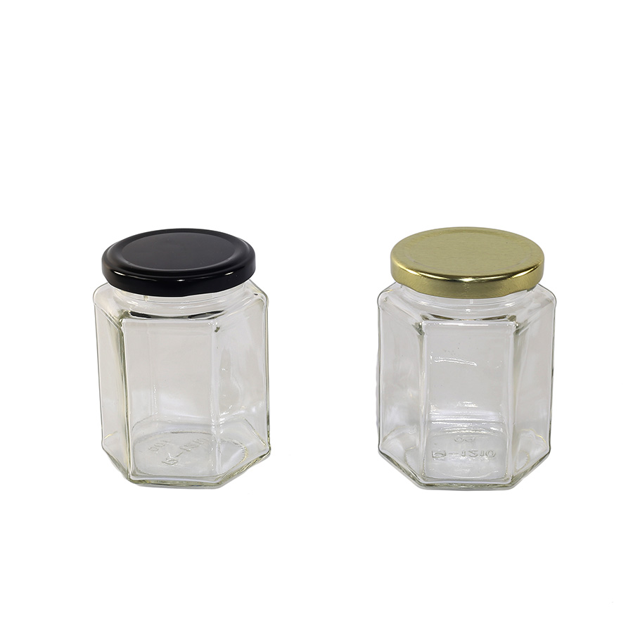 Honeycomb 256ml Clear Hex Jar 63TW 12 Pack