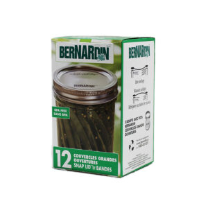 Bernardin 12 Pack Wide Mouth 2 piece Snap Lids with Securing Rings