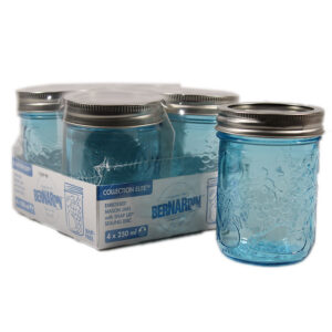 Bernardin 250ml RM Blue Embossed Mason Jars - 4 Pack