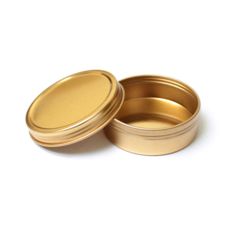 2oz Flat Screw Top Gold Tin - Single