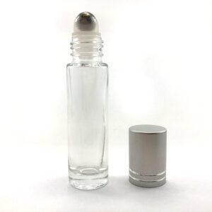 wellscan-10ml-clear-roll on-bottle-silver cap-metal-roller-ball