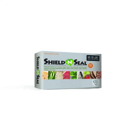 "Shield N Seal 15"" x 20"" Metallic-Clear Pre-Cut 4mil Vac Bag w/zipper"