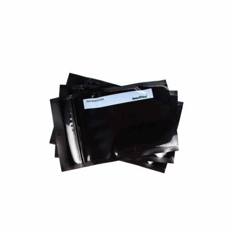 Shield N Seal 5″ x 8″ Black/Black w/zipper 50 bags per box, 5 mil thick