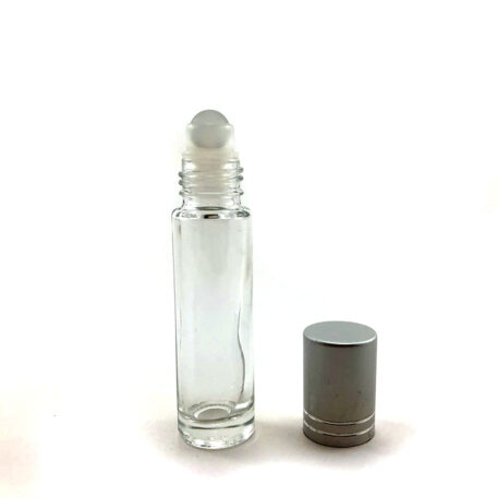 wellscan-10ml-clear-roll on-bottle-silver cap-plastic-roller-ball
