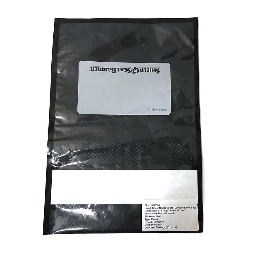 wellscan-SNS-11in x 16in-vacuum-bag-pack of 50-black clear-barrier-single