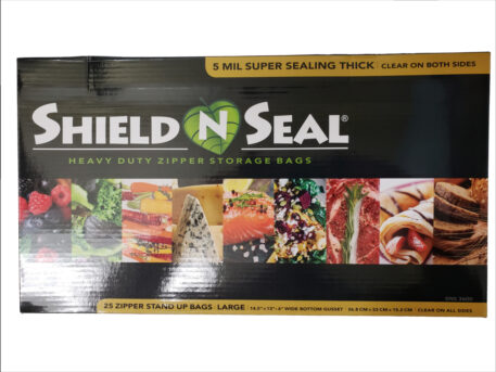 "Shield N Seal 14.5""x13""x6"" Clear/Clear Zipper Stand-Up Pouch w/Bottom Gusset"