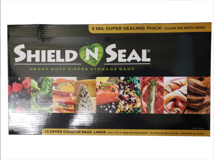 """Shield N Seal 14.5""""x13""""x6"""" Clear/Clear Zipper Stand-Up Pouch w/Bottom Gusset"""