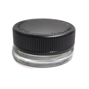 15ml Thick Wall Clear Glass Concentrate Jar with Matte Black CR Cap